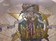 """Al final del andén de la estación de Novoslobodskaya, la pared está decorada con un mosaico de Pável Korin titulado """"Paz por todo el Mundo""""."""